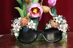 5742 Baroque Hand Painted Adorable 3D Effect Snails Flowers Embellished Sunglasses