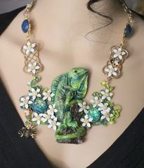 5745 Set Of Genuine Solar Quartz San Sitara Hand Painted Vivid Iguana Necklace+ Earrings