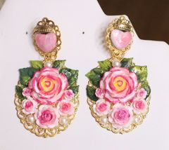 5765 Baroque HAnd Painted Roses Scared Heart Statement Earrings