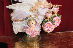5766 Baroque Cherub Angel Hand Painted Roses Hair Comb