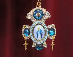 5772 Virgin Mary Church Cross Cameo Massive Pendant