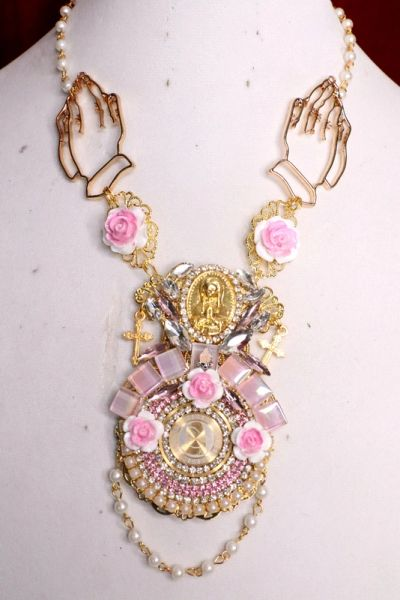 SOLD! 5804 Virgin Mary Iridescent Pink Rhinestones Roses Necklace