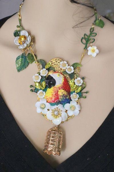 5815 Art Nouveau Vivid Parrot Bird Cage Hand Painted Necklace