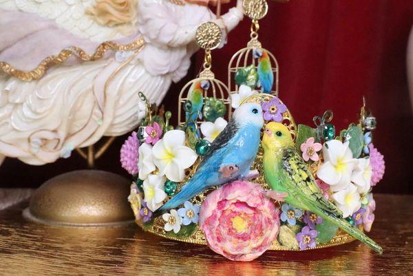 5818 Set Of Hand Painted Love Birds Parrots Flowers Headband Crown