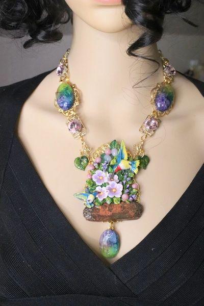 5821 Set Of Art Nouveau Genuine Rainbow Quartz Hand Painted Hummingbird Statement Necklace+ Earrings