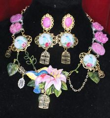 5822 Set Of Art Nouveau Genuine Druzzy Agate Hand Painted Hummingbird Statement Necklace+ Earrings