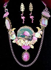 SOLD! 5839 Set Of Hand Painted On Agate Florida Flamingo Genuine Fire Opal Solar Quartz Gemstones Necklace+ Earrings