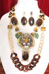 5840 Set Of Hand Painted Vivid Tiger Genuine Marconi Jasper Tiger Eye Gemstones Necklace+ Earrings