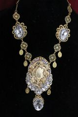 SOLD! 5854 Virgin Mary Clear Crystal Gold Massive Necklace