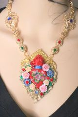 5855 Hand Painted Baroque Sacred Heart Flower Massive Necklace