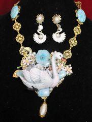 5880 Set Of Art Nouveau 3D Effect Swan Mom Genuine Quartz Larimar Hand Painted Necklace