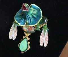 5907 Art Jewelry Hand Painted 3D Effect Vivid Dragon Genuine Opal Brooch