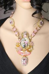 5908 Virgin MaryVintage Style Druzy Opal Massive Pendant Necklace