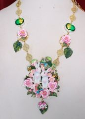 5928 Art Jewelry Genuine Tourmaline Hand Painted Bunnies Love Roses Necklace