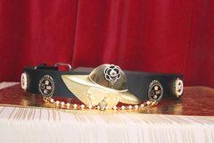 SOLD! 5943 Genuine Leather Madam Coco Camellia Embellished Waist Gold Belt Size S, L, M
