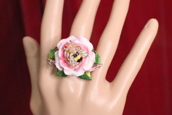 5945 Baroque Hand Painted Rose Flower Bee Ring
