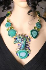 5947 Medieval Genuine Agate Dragon Necklace