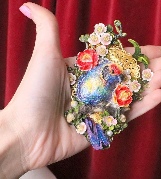 5949 Hand Painted Vivid Bird Flower Massive Brooch