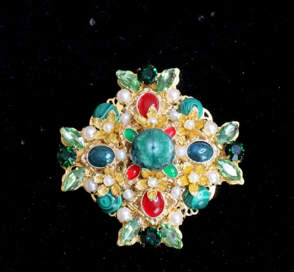 5950 Baroque Genuine Malachite Massive Classic Brooch