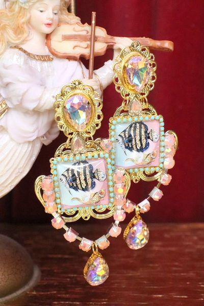 5953 Baroque Cameo Fish Nautical Crystal Massive Earrings