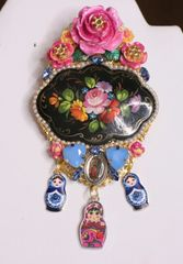 5973 Baroque Russian Jewelrybox Style Matryoshka Hand Painted Massive Classic Brooch