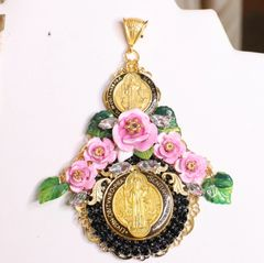 5974 Virgin Mary Pink Gold Roses Massive Pendant