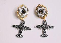 5984 Camellia Madame Coco Airplane Earrings