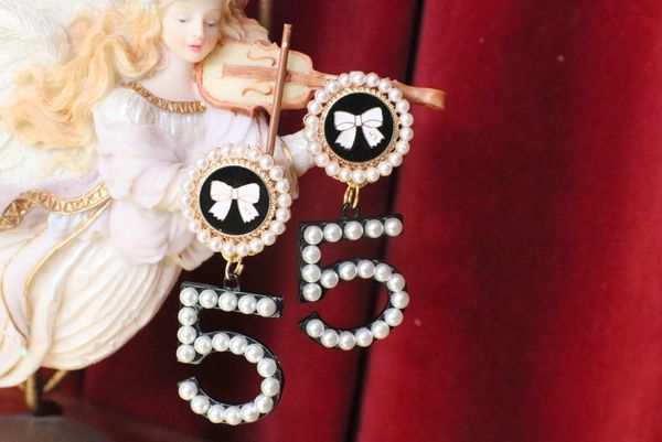 5985 Camellia Madame Coco Number 5 Pearl Earrings