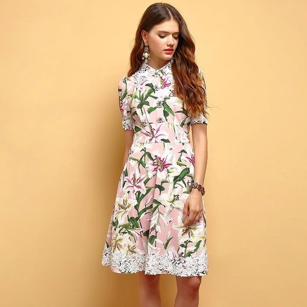 5655 Runway Lily Print Lace Lily Buttons Elegant Dress Size US4 In STOCK