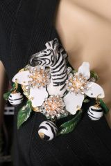 SOLD! 6008 Baroque 3D Effect Hand Painted Zebra Flower Huge Brooch