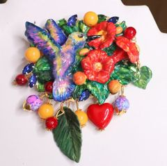 6010 Baroque 3D Effect Hand Painted Hummingbird Flower Huge Brooch