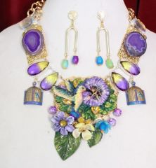 6030 Set Of Art Nouveau Hummingbird Genuine Tourmaline Agates Necklace+ Earrings