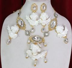 "6033 ""Fashion Sinner"" Baroque White Chubby Cherubs Angels Clear Crystal Necklace"
