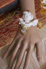 6034 Baroque Chubby White Cherub Clear Crytal Massive Bracelet