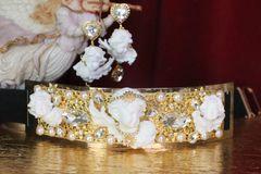 SOLD! 6039 Baroque Runway White Chubby Cherubs Angels Embellished Waist Gold Belt Size S, L, M