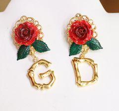 SOLD! 6040 Baroque Hand Painted Roses Letters Elegant Earrings