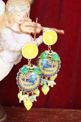 SOLD! 6043 Italian Palermo Cameo Enamel Bee Lemon Fruit Enamel Bee Studs Earrings