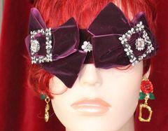 SOLD! 6046 Baroque Velvet Red Wine Bow Elegant Headband