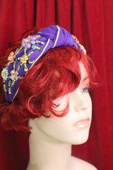 6047 Baroque Flower Beaded Knot Purple Elegant Headband