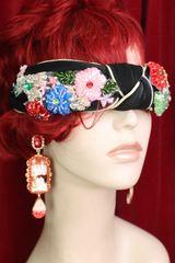 SOLD! 6049 Baroque Flower Beaded Knot Black Elegant Headband