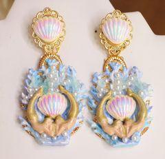 SOLD! 6065 Baroque Hand Painted Blue Coral Reef Mermaids Stunning Studs Earrings