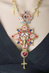 SOLD! 6069 Religious Jesus Enamel Huge Cross Crown Massive Necklace