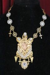 6073 Carved Virgin Mary Clear Rhinestone Massive Necklace