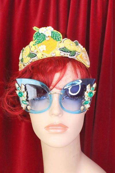 5619 Baroque Elegant Embellished Blue Butterfly Sunglasses