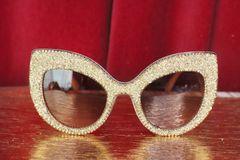 5556 Gold Dust Fancy Butterfly shape Oversized Sunglasses