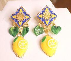 SOLD! 6093 Baroque Sicilian Tile Lemon Fruit Statement Earrings