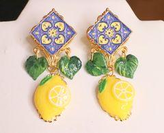 SOLD! 6094 Baroque Sicilian Tile Lemon Fruit Statement Earrings
