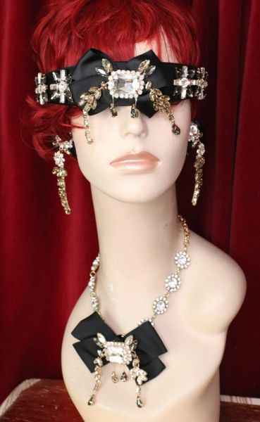 6098 Baroque Runway Black Bow Clear Elegant Rhinestone Headband