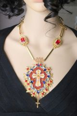 6101 Jesus Red Rhinestone Cross Statement Massive Necklace