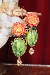 6102 Baroque Hand Painted Cabbage Rose Statement Earrings